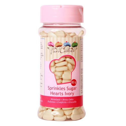 FunCakes Strössel Hjärtan, Ivory