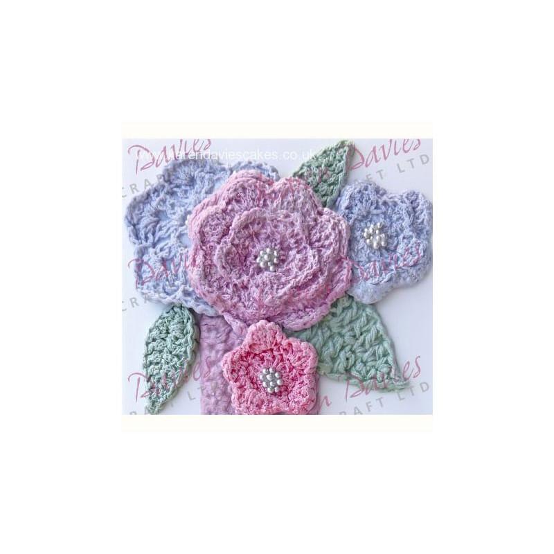 Silikonform Crochet flower and leaf - Karen Davies