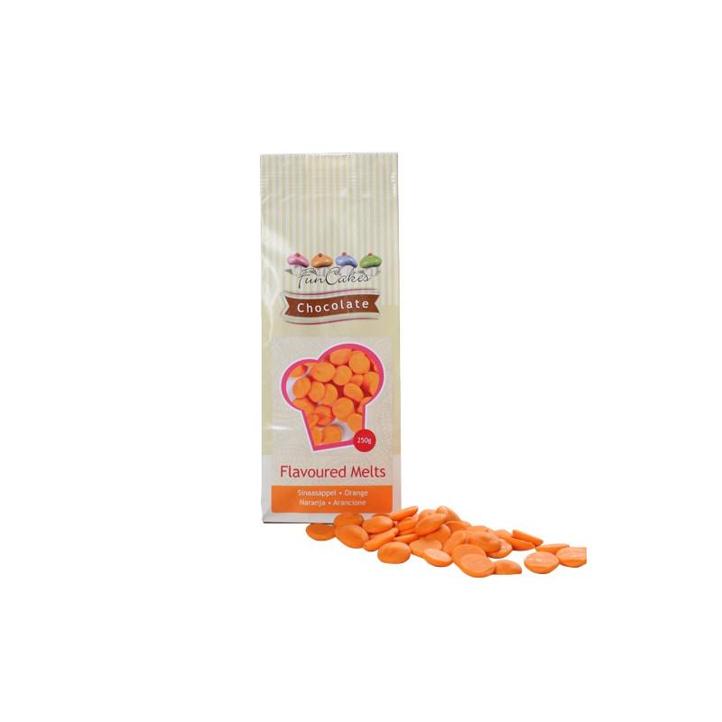 FunCakes Chocolate Melts, orange, apelsinsmak, 250 g