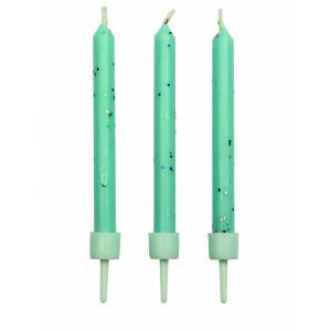 PME Tårtljus, ljusblåa glittriga