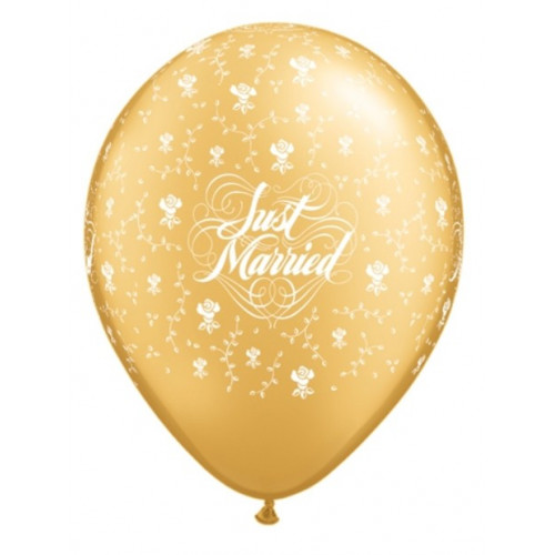 Qualatex Ballonger, Just Married, guld