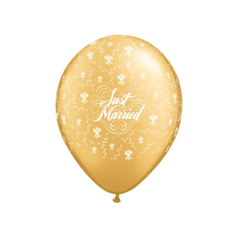 Qualatex Ballonger, Just Married, guld