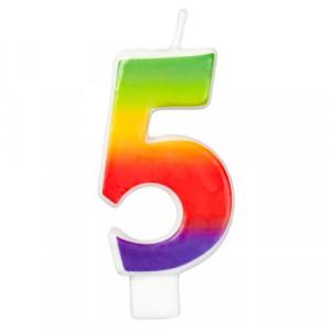 Wilton Tårtljus, sifferljus, 5, Rainbow