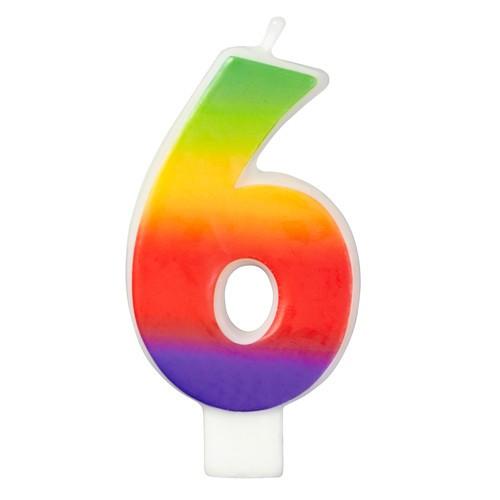 Wilton Tårtljus, sifferljus, 6, Rainbow
