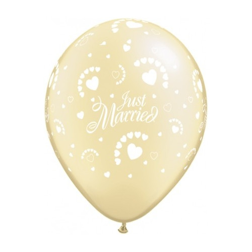 Qualatex Ballonger Just Married Hearts-a-round