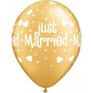 Qualatex Ballonger Just Married, Hearts & Hearts, guld