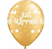 Qualatex Ballonger Just Married, Hearts & Hearts, guld