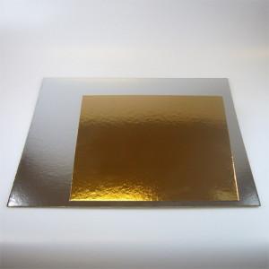 Tårtbricka guld och silver, kvadratisk, 3-pack, 30 cm