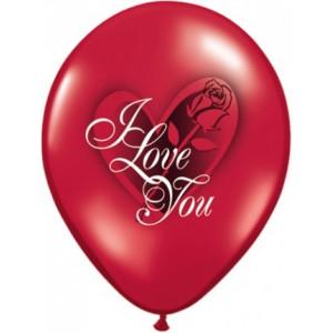 Qualatex Ballonger I love you, red rose
