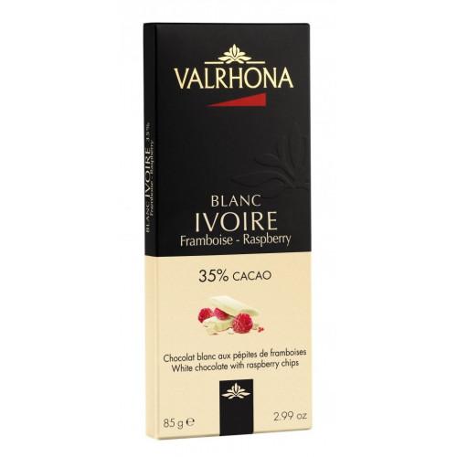 Valrhona Choklad Ivoire Framboise Blanc, 85 g