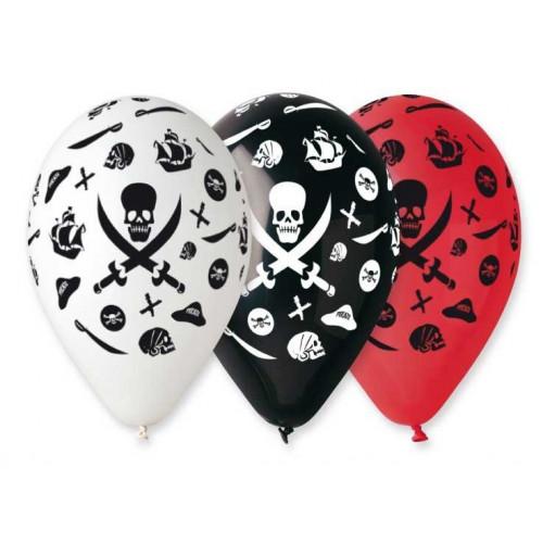 Ballonger Pirat, röd, svart och vit