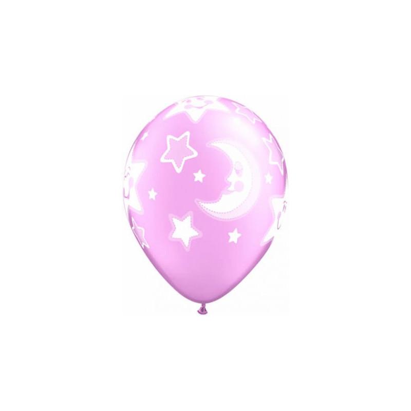 Qualatex Ballonger Baby Moon & Stars, rosa