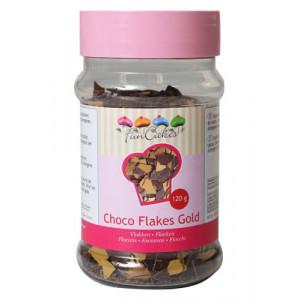 FunCakes Chokladflakes, guld, 120 g