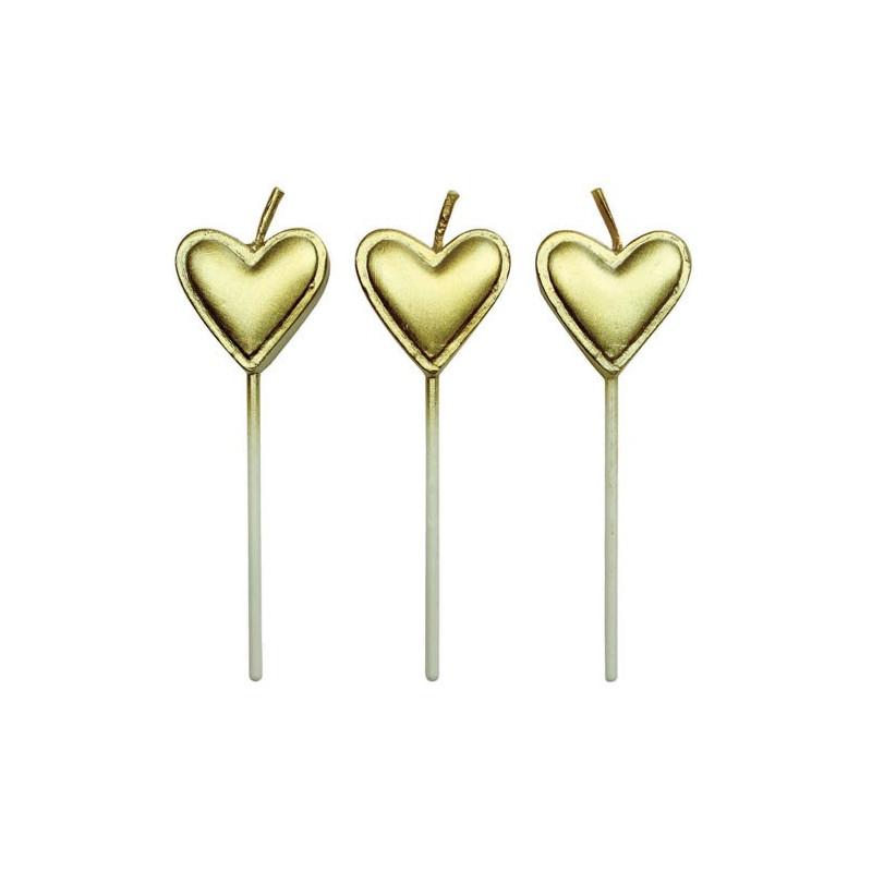 PME Tårtljus Hjärtan, guld