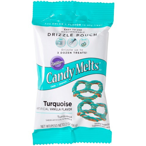 Wilton Candy Melts Drizzle Pouch, turkos, 56 g