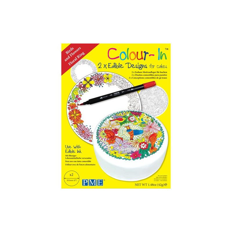 PME Colour-In Ätbara ark till tårta, Blommor