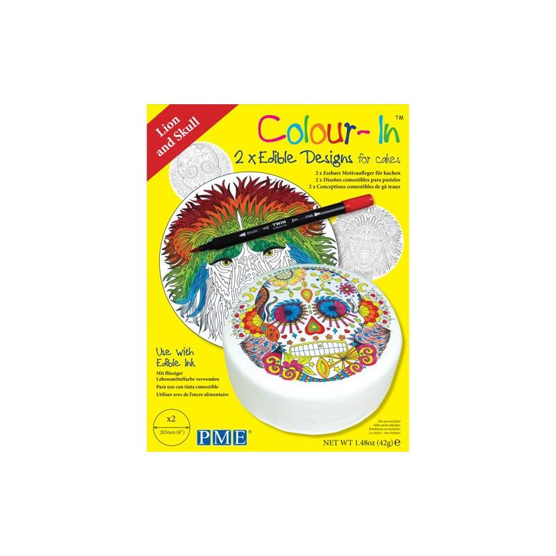 PME Colour-In Ätbara ark till tårta, Lejon Döskalle