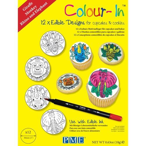 PME Colour-In Ätbara ark till cupcakes, djur