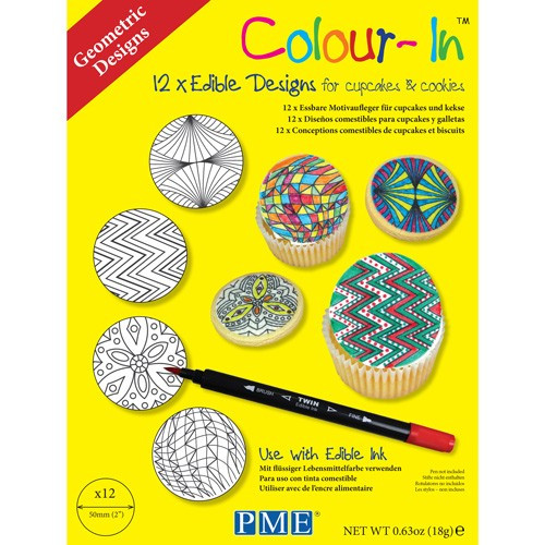 PME Colour-In Ätbara ark till cupcakes, Geometric