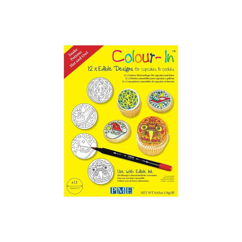 PME Colour-In Ätbara ark till cupcakes, Magi