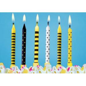 PartyDeco Tårtljus gul och svart