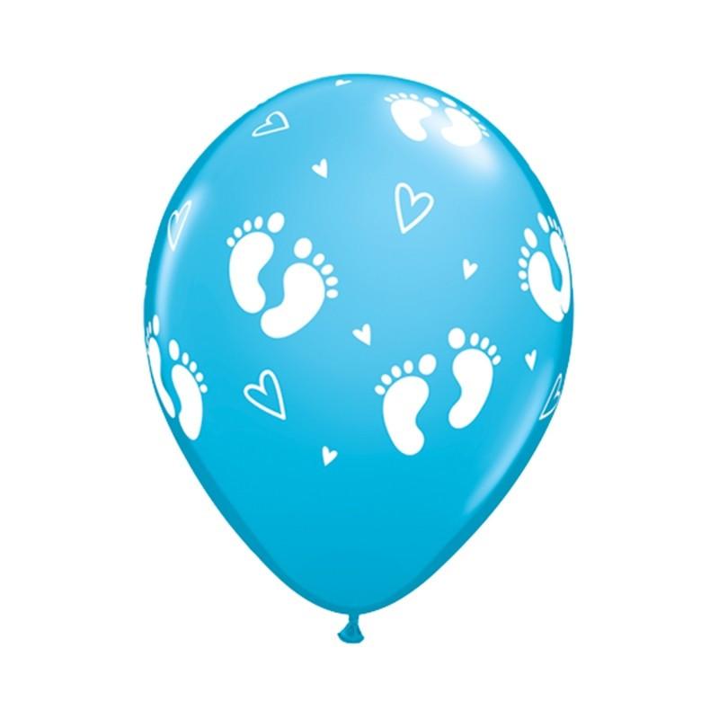 Qualatex Ballonger Fotspår och hjärtan, blåa