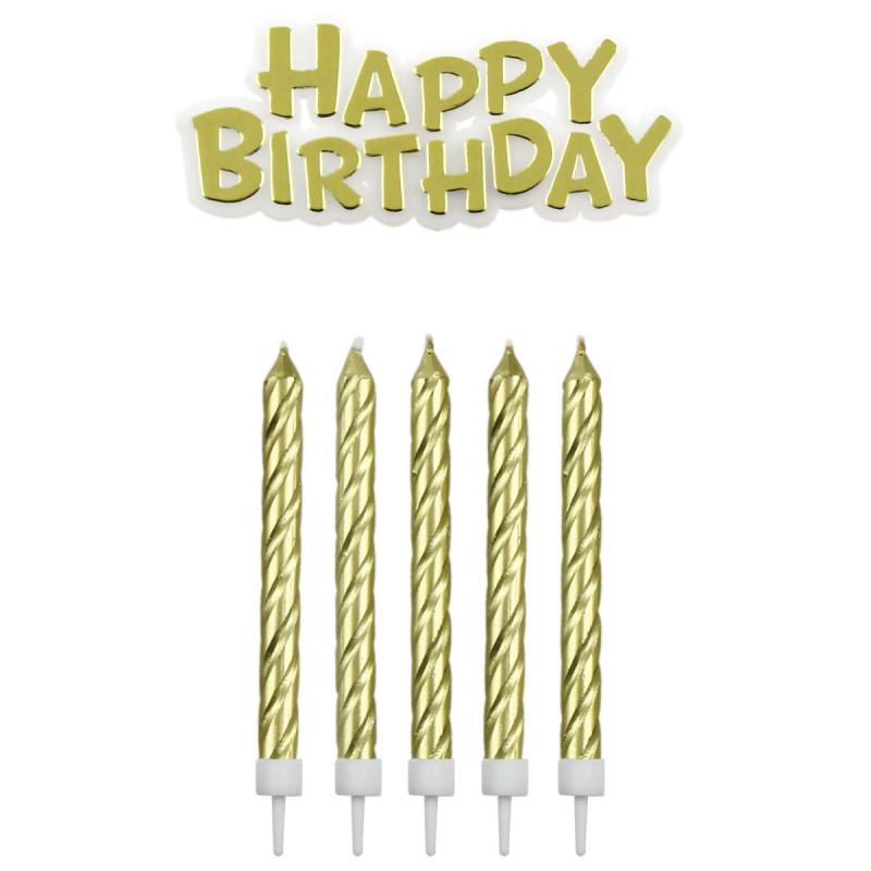 PME Tårtljus Happy Birthday, guld