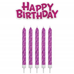 PME Tårtljus Happy Birthday, rosa