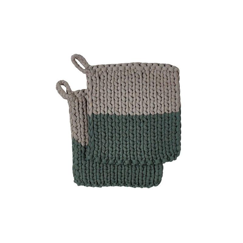 Södahl Grytlapp Knitted, Grön/Natur