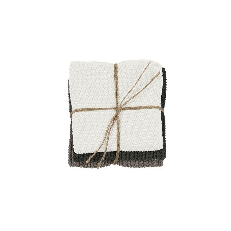 Södahl Disktrasa Knitted, Grön/Natur/Vit 3-pack