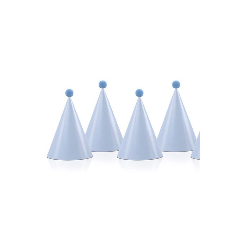 Partyhattar med pompoms, blåa