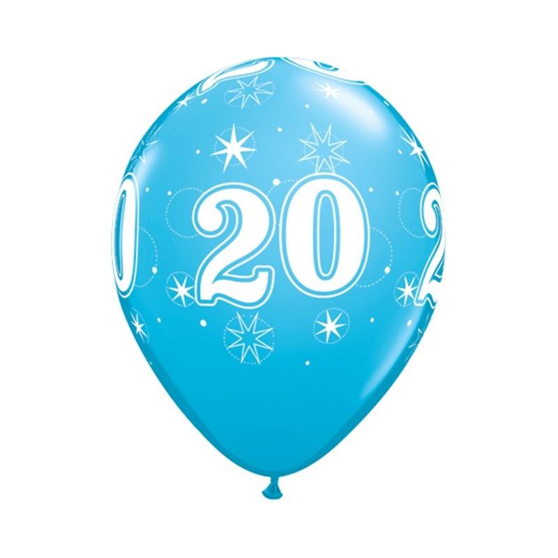 Qualatex Ballonger Födelsedag 20, blåa