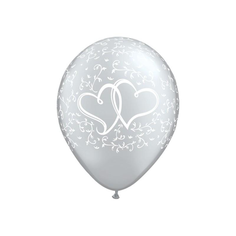 Qualatex Ballonger Hjärtan, silver