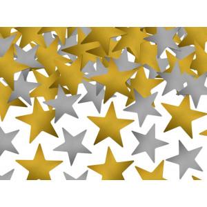 PartyDeco Konfetti Stjärnor, guld och silver