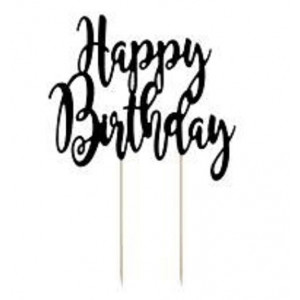 PartyDeco Cake Topper Happy Birthday, svart
