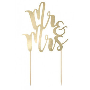 PartyDeco Cake Topper Mr & Mrs, guld