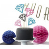PartyDeco Cake Toppers Diamanter, rosa och turkos