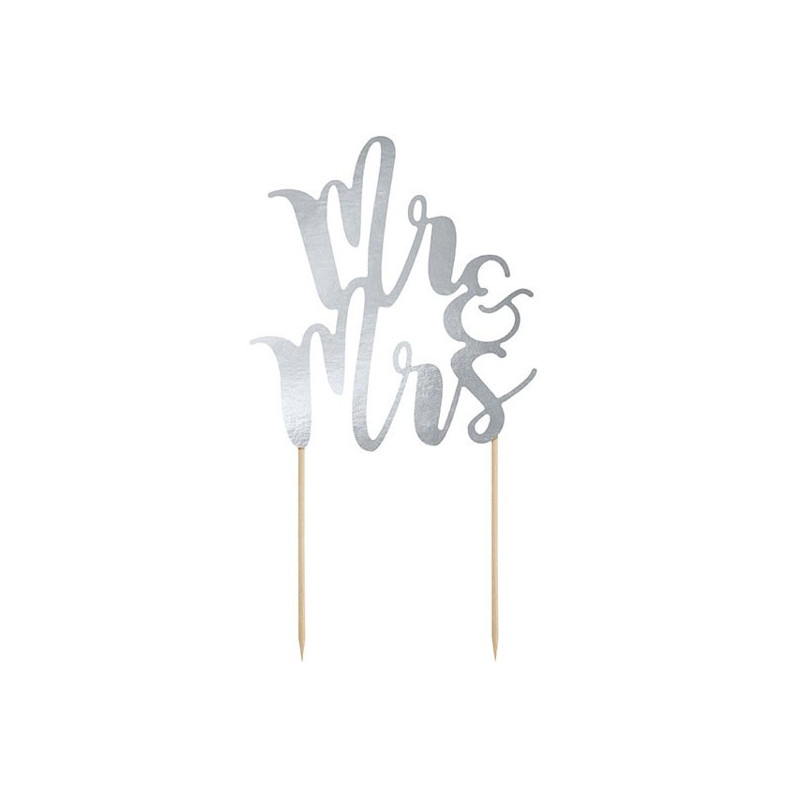 PartyDeco Cake Topper Mr & Mrs, silver