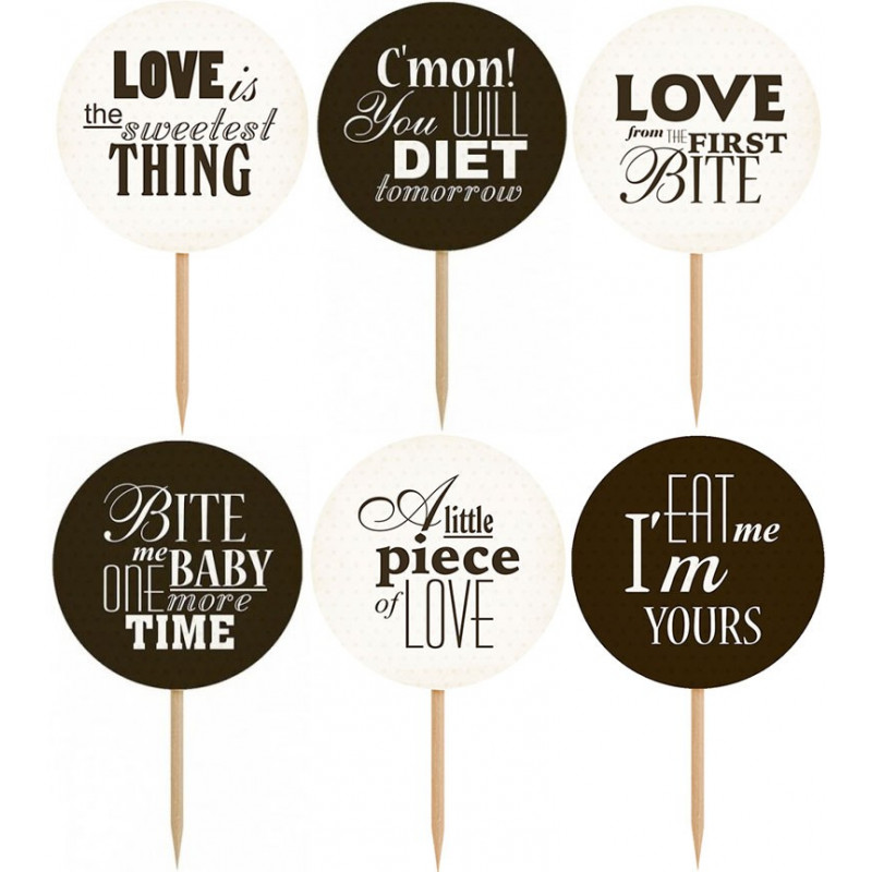 PartyDeco Cupcake Toppers Sweet Love
