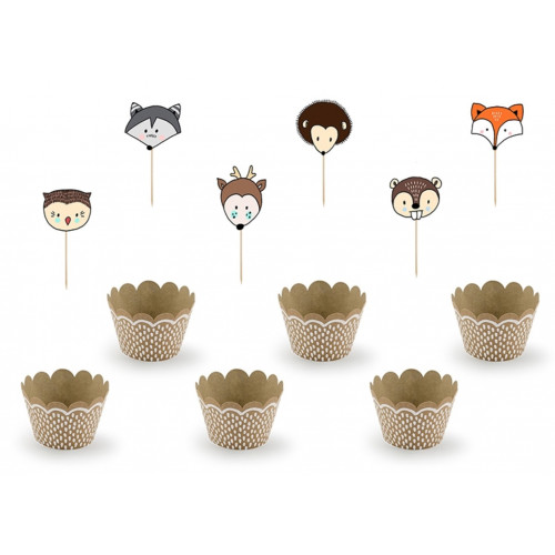 PartyDeco Cupcake Kit Woodland