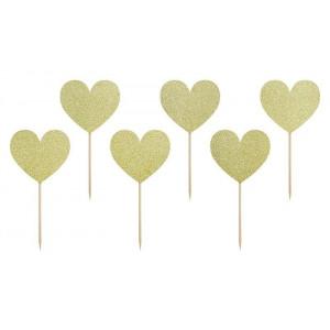 PartyDeco Cupcake Toppers Hjärtan, guldglitter