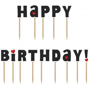 PartyDeco Cupcake Toppers Happy Birthday
