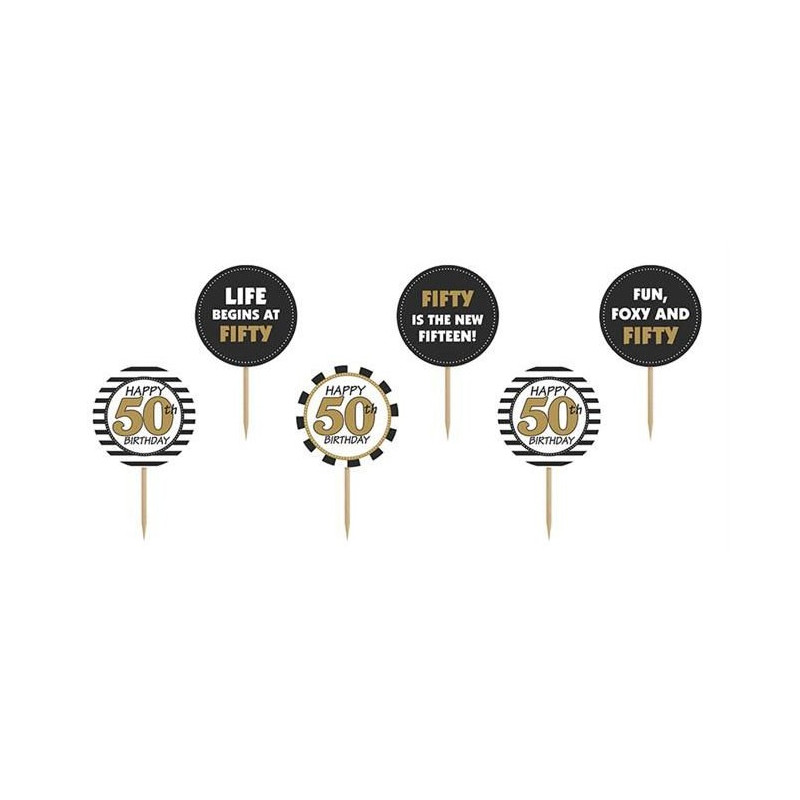 PartyDeco Cupcake Toppers 50th Birthday