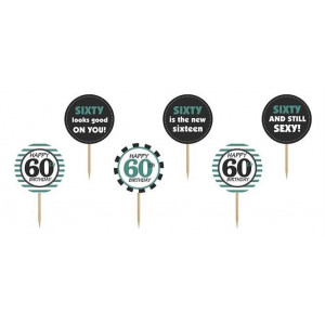 PartyDeco Cupcake Toppers 60th Birthday