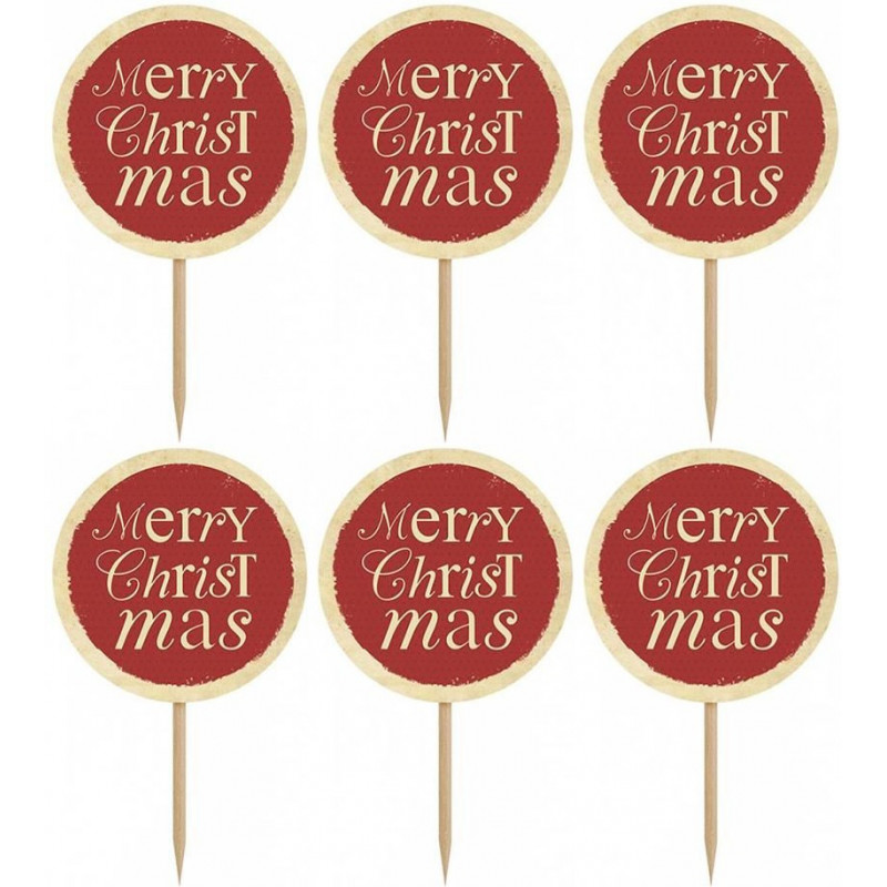 PartyDeco Cupcake Toppers Merry Christmas
