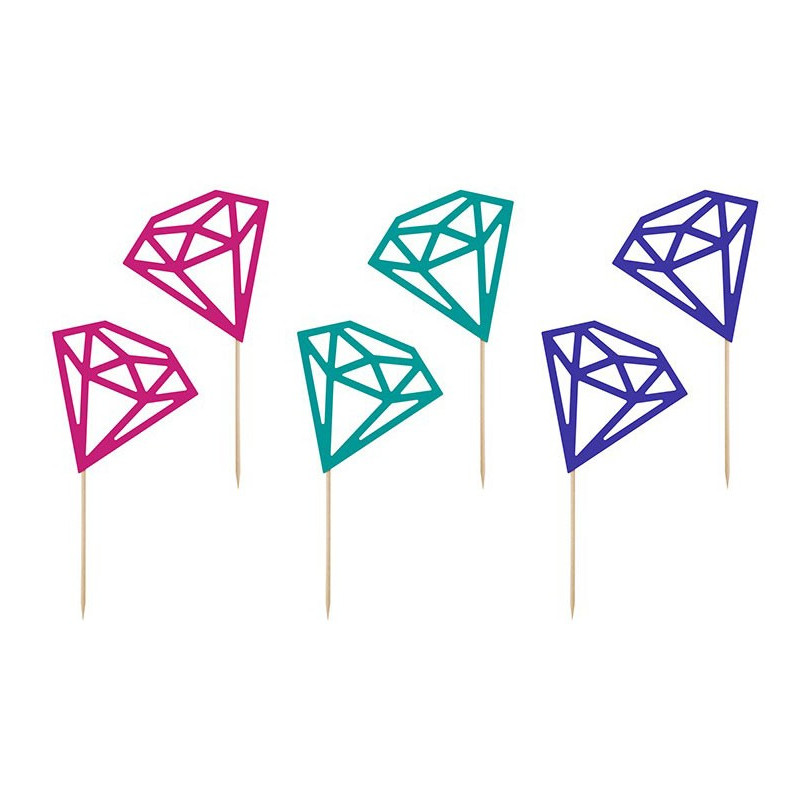 PartyDeco Cupcake Toppers Diamanter, blandade färger