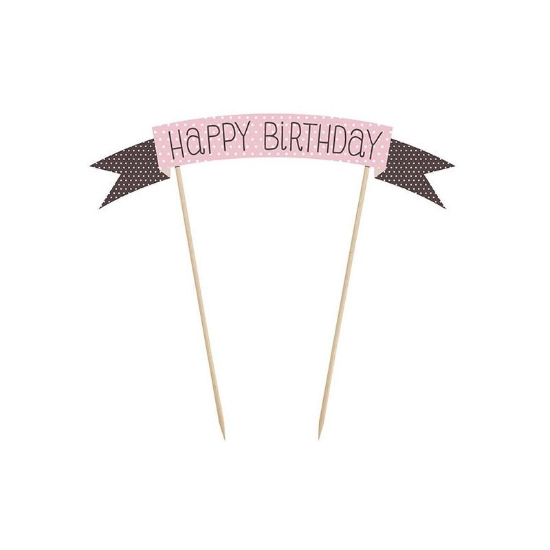 PartyDeco Cake Topper Banderoll, Happy Birthday