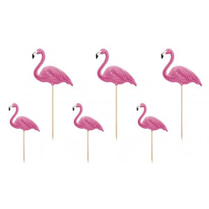 PartyDeco Cake Toppers Flamingos