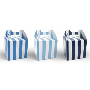 PartyDeco Cupcake box, randiga, blå, 6 st