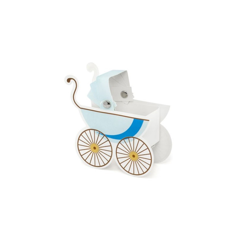 PartyDeco Presentaskar, barnvagn, blå